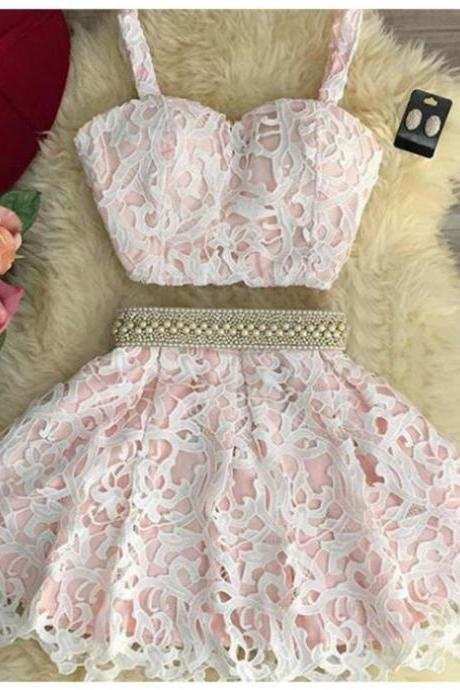 2017 A-line Homecoming Dresses Sleeveless Round Short/Mini Pearls Customized Zipper Dresses