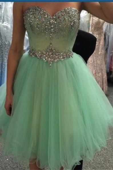 2017 Short A-line Homecoming Dresses Sleeveless Sweetheart Short/Mini Crystal Custom Made Dresses