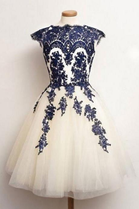 2017 Ball Gown Homecoming Dresses Sleeveless Bateau Knee-length Applique On Sale Zipper Dresses