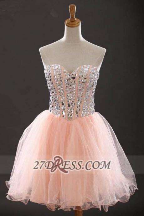 Short Homecoming Dresses Sleeveless Sweetheart Short/Mini Crystal On Sale Lace Up Dresses