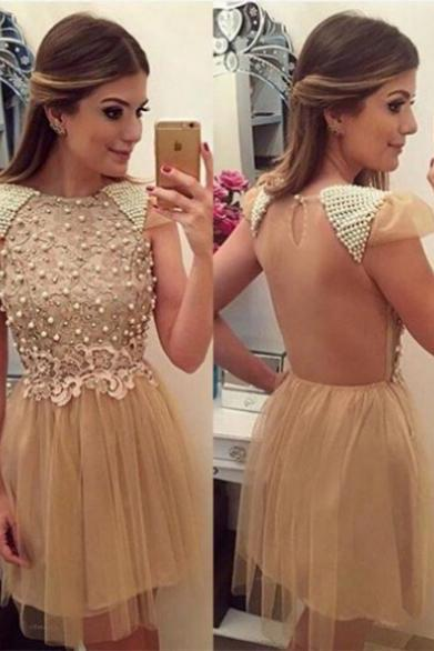 2017 A-line Homecoming Dresses Cap Sleeves Jewel Knee-length Pearls Customized Dresses