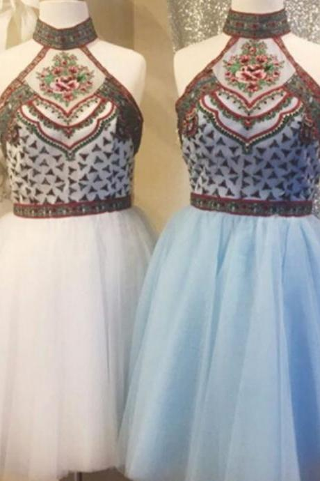 2017 A-line Homecoming Dresses Sleeveless High Neck Short/Mini Embroidery Outlet Zipper Dresses