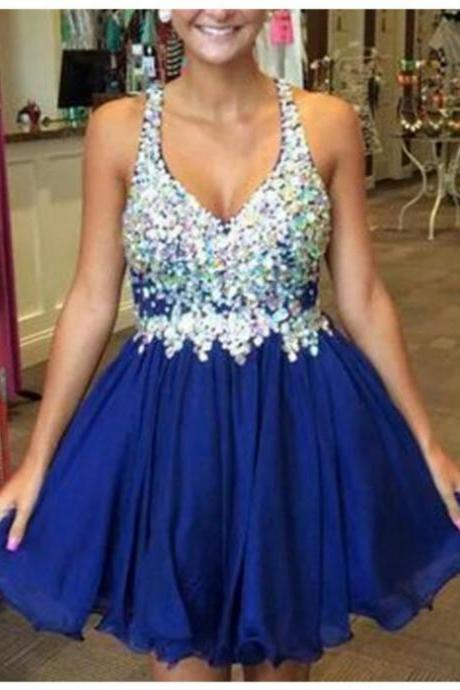2017 A-line Homecoming Dresses Sleeveless V-Neck Short/Mini Beading Cheap Side Zipper Dresses