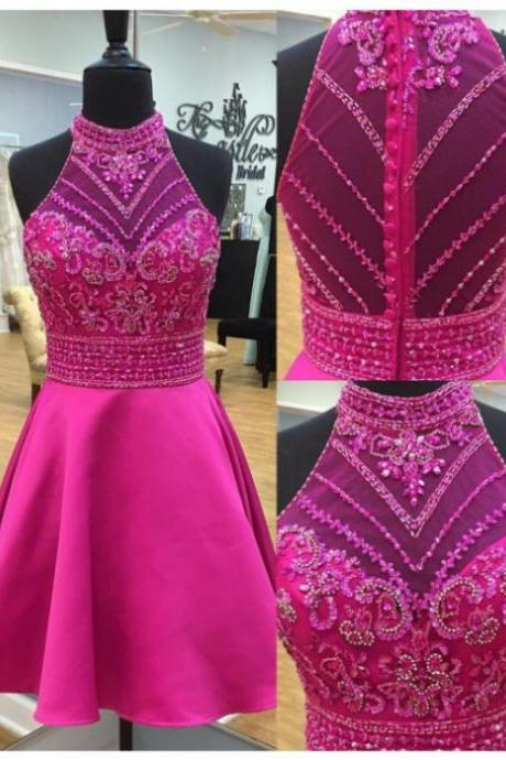 2017 A-line Homecoming Dresses Sleeveless Round Short/Mini Beading Custom Made Zipper Dresses