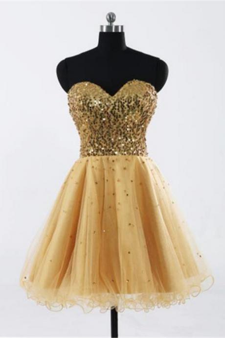 Short Homecoming Dresses Sleeveless Sweetheart Short/Mini Sequin Customized Lace Up Dresses