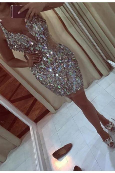 2017 Sheath Homecoming Dresses Sleeveless V-Neck Short/Mini Beading Sale Zipper Dresses