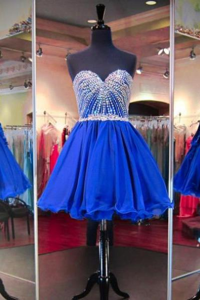 2017 A-line Homecoming Dresses Sleeveless Sweetheart Short/Mini Crystal On Sale Lace Up Dresses