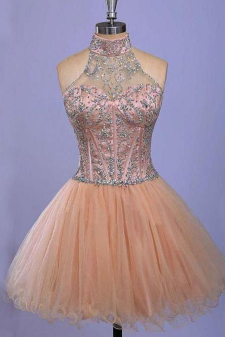 Champagne Homecoming Dresses Open Back Sleeveless A-Line/Column Haltered Above-Knee Tulle