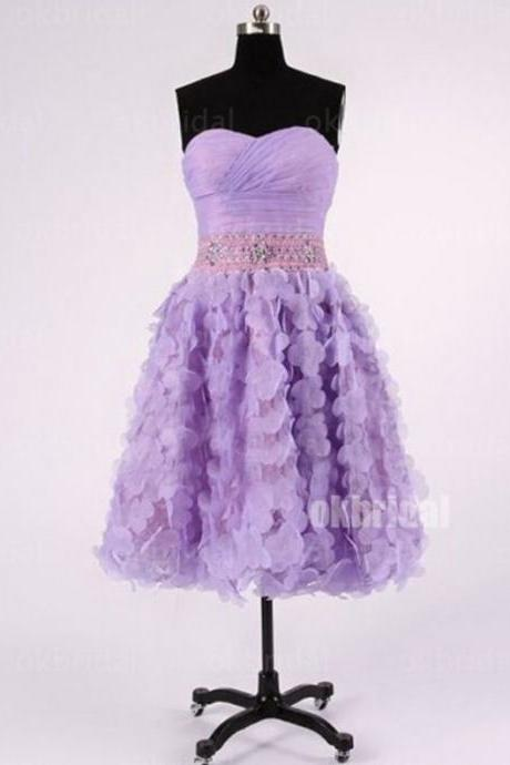 Lilac Homecoming Dresses Zippers Sleeveless A Line Sweetheart Neckline Above-Knee Tiers