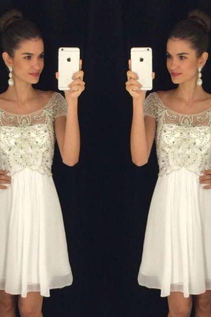 White Homecoming Dresses Zippers Capped Sleeves A Line Round Neck Above Knee Chiffon Crystal Detailing