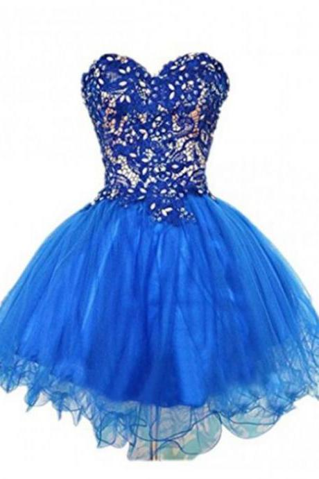 Royal Blue Homecoming Dresses Laced Up Sleeveless Ball Gowns Sweetheart Neckline Above Knee Tulle Lace