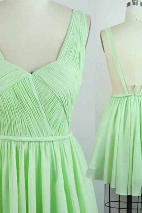 Mint Homecoming Dresses Sheer Back Sleeveless A-Line/Column Strap Above Knee Chiffon Goffer