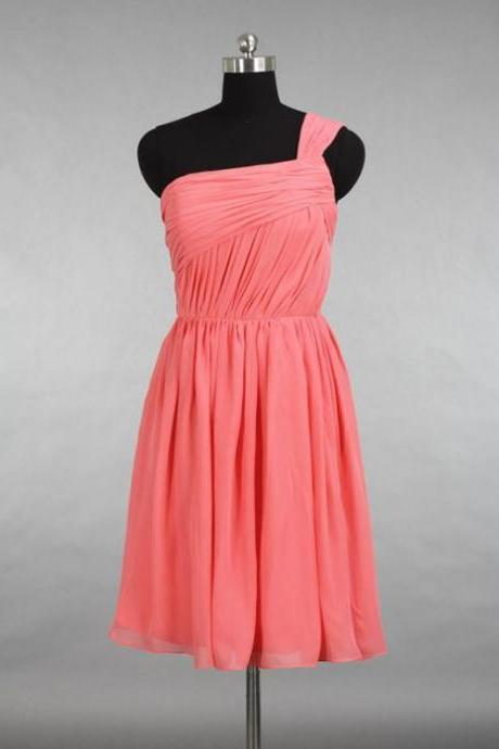 Pink Homecoming Dresses Side-Zipper Sleeveless A lines One Sleeve Short Chiffon
