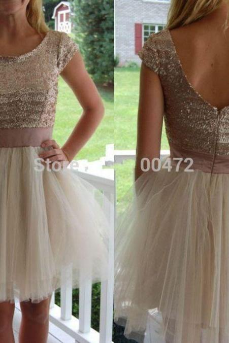 Champagne Homecoming Dresses Appliques Cap Sleeve A-Line/Column Round Neck Above-Knee Sequined Sequined
