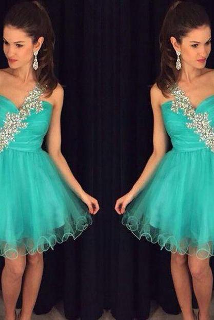 Sky Blue Homecoming Dresses Zipper-Up Sleeveless A lines One shoulder Above Knee Tulle Appliques