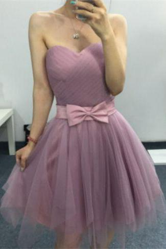 Light Purple Homecoming Dresses Zippers Sleeveless A Line Sweetheart Neckline Above-Knee Bows