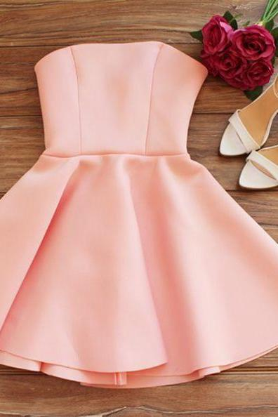 Pearl Pink Homecoming Dresses Zippers Sleeveless Aline Strapless Above Knee Matte Satin No