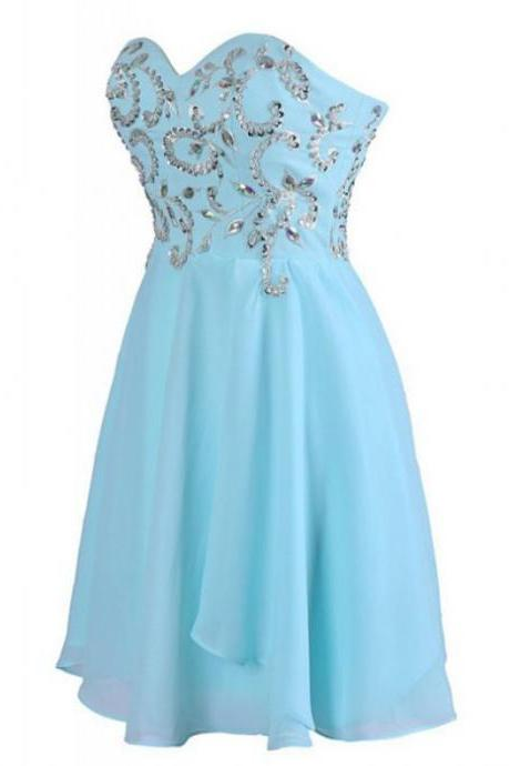 Blue Homecoming Dresses Laced Up Sleeveless A-Line/Column Sweetheart Neckline Short Chiffon