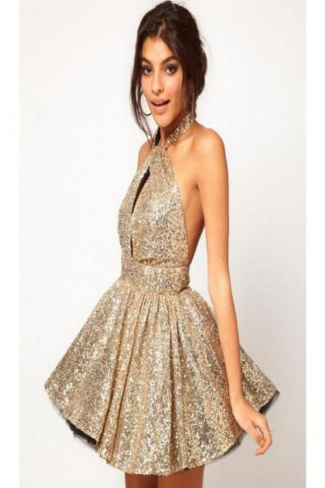 Silver Homecoming Dresses Open Back Sleeveless A lines Haltered Above Knee Paillette