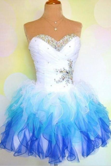 Sky Blue Homecoming Dresses Zipper-Up Sleeveless Ball Gowns Sweetheart Neckline Above Knee Ruched