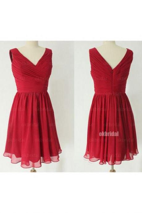 Red Homecoming Dresses Zipper-Up Sleeveless Aline V Neck Above Knee Chiffon