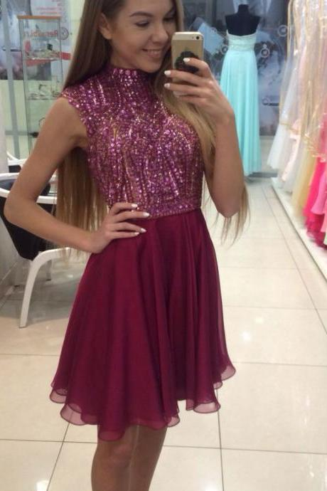 Wine Homecoming Dresses Zippers Sleeveless Aline H-Neck Short Crystal Floral Pin