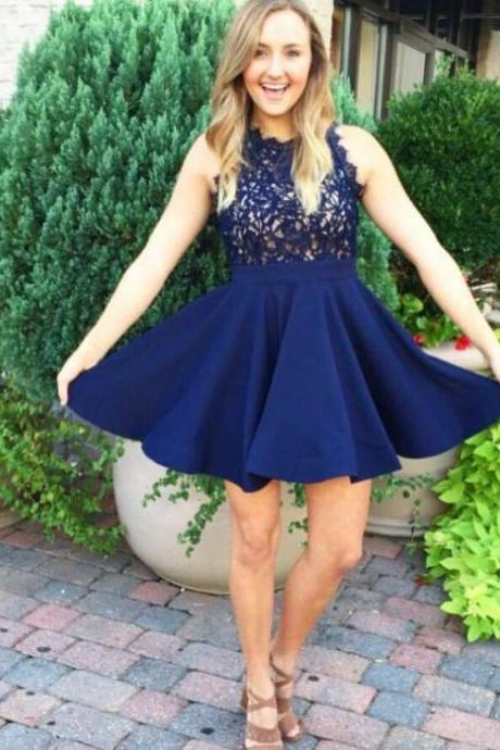Dark Navy Homecoming Dresses Zippers Sleeveless A Line Scalloped-Edge Short Appliqued
