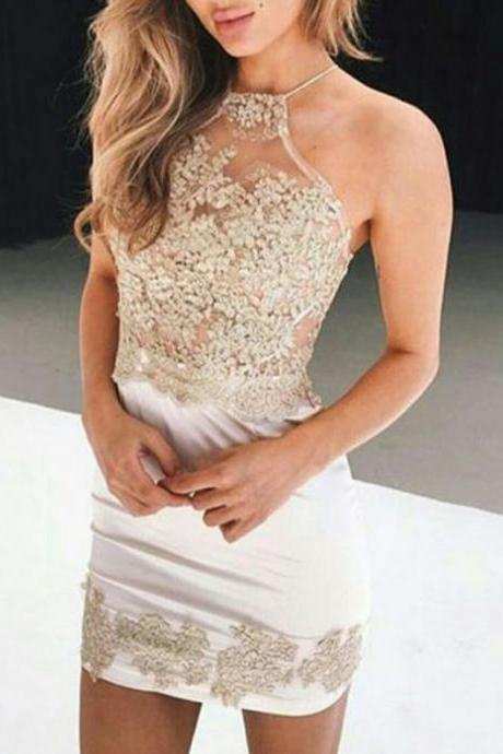 Ivory Homecoming Dresses Zipper-Up Sleeveless Column Jewels Mini Charmeuse Appliqued