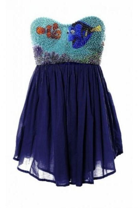 Dark Blue Homecoming Dresses Zippers Sleeveless Gown Sweetheart Neckline Above Knee Crystal Beads Ruffle