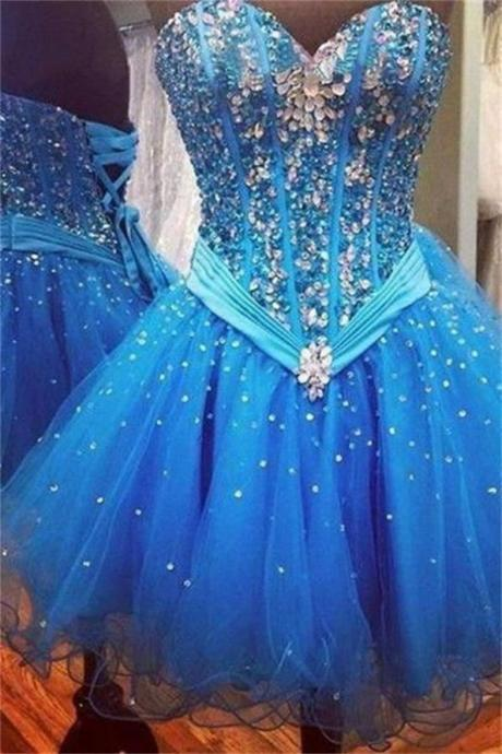 Blue Homecoming Dresses Lace-Up Sleeveless Gown Sweetheart Neckline Mini Organza Sequins