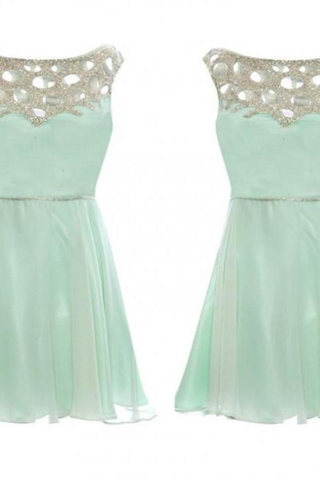 Green Homecoming Dresses Zippers Sleeveless A Line Scoop Short Chiffon Beadings