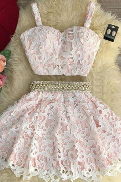 Rose Pink Homecoming Dresses Zipper-Up Spaghetti Strap Aline Spaghetti Straps Short Lace