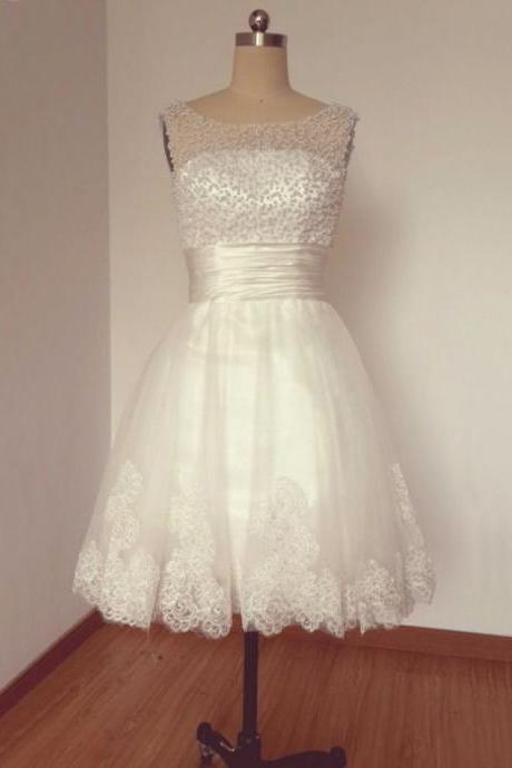 White Homecoming Dresses Sheer Back Sleeveless Aline Bateau Above Knee Lace