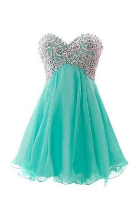 Mint Homecoming Dresses Lace-Up Sleeveless A-Line/Column Sweetheart Neckline Above-Knee Belt#Sash