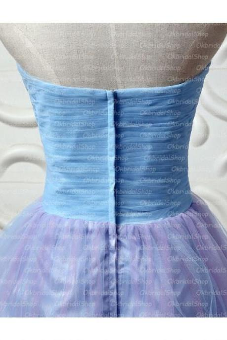 Blue Homecoming Dresses Zipper-Up Sleeveless A lines Sweetheart Neckline Above-Knee Beaded