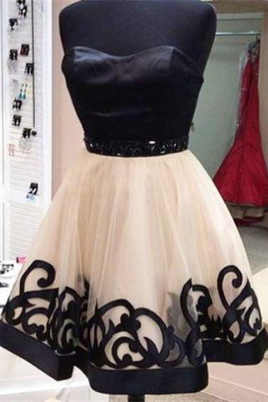 Black and White Homecoming Dresses Zippers Sleeveless Gown Sweetheart Neckline Mini Tulle