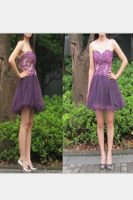 Purple Homecoming Dresses Zippers Sleeveless A Line Sweetheart Neckline Above-Knee Lace