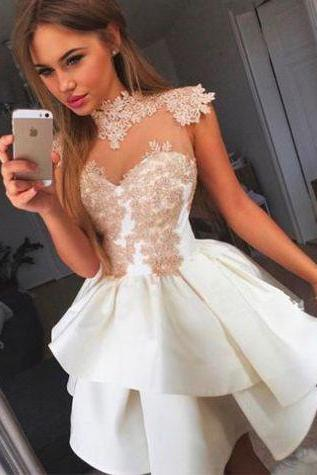 White Homecoming Dresses Appliques Sleeveless Empire High necked Mini Lace/Satin Lace