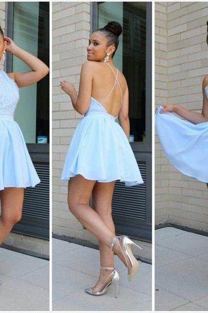 Blue Homecoming Dresses Zippers Sleeveless A Line Haltered Above Knee Chiffon Lace