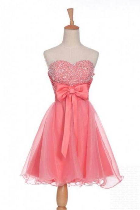 Pink Homecoming Dresses Sheer Back Sleeveless A-Line/Column Sweetheart Neckline Short Bow