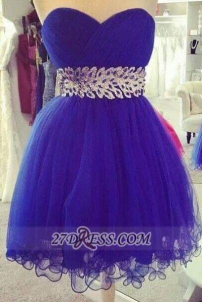 Royal Blue Homecoming Dresses Zipper-Up Sleeveless A lines Sweetheart Neckline Above Knee Crystal Floral Pin