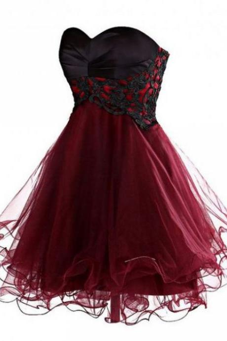 Fuchsia Homecoming Dresses Laced Up Sleeveless Ball Gowns Sweetheart Neckline Above Knee Tulle Lace