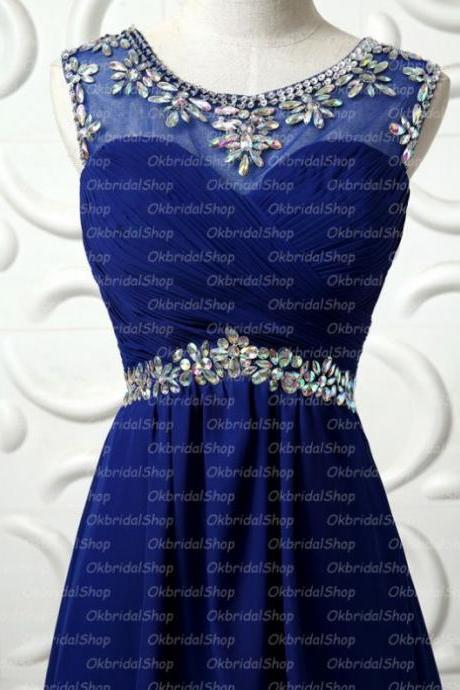 Royal Blue Homecoming Dresses Zippers Sleeveless Empire Round Neck Mini Crystal Beads Ruffle