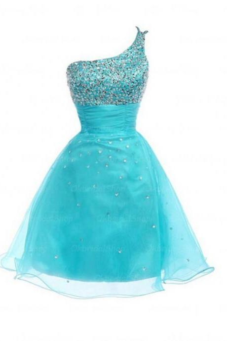 Blue Homecoming Dresses Zipper-Up Sleeveless A Line One shoulder Mini Sequins