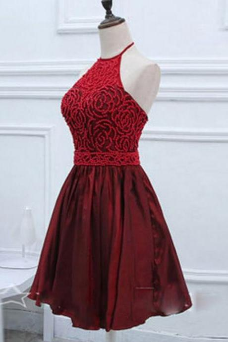 Dark Red Homecoming Dresses Hollow Sleeveless A-Line/Column Haltered Mini Taffeta Crystal Beads Ruffle