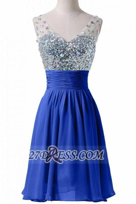 Royal Blue Homecoming Dresses Zipper-Up Sleeveless A lines Sweetheart Neckline Mini Chiffon Sequins