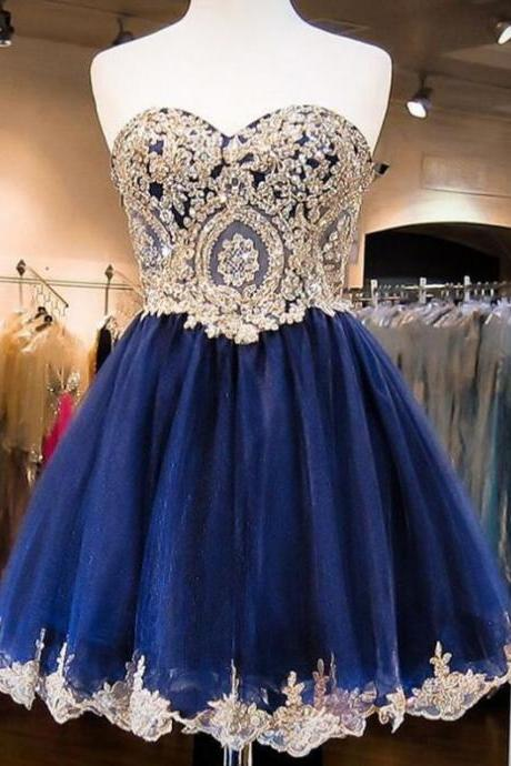 Dark Blue Homecoming Dresses Hollow Sleeveless A Line Sweetheart Neckline Mini Embroidered