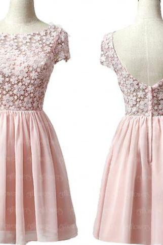 Pink Homecoming Dresses Open Back Cap Sleeve A Line Round Neck Above-Knee Lace