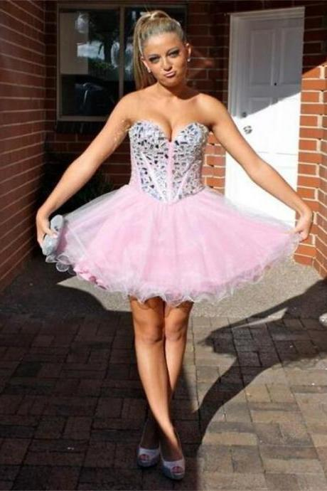 Pink Homecoming Dresses Zippers Sleeveless Aline Sweetheart Neckline Above-Knee Beadings