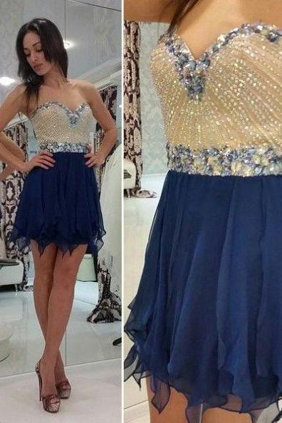 Dark Blue Homecoming Dresses Zippers Sleeveless A-Line/Column Sweetheart Neckline Mini Chiffon Crystal Detailing